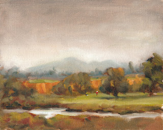 Oil painting of small figures on a golf course by a stream with distant mountains.