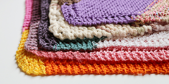 Stack of Knit Cotton and Linen Washcloths or Dishcloths