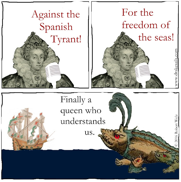 Political comedy. The speech of Elizabeth I convinces her new allies and friends, the powerful, dangerous sea monsters. Great job!