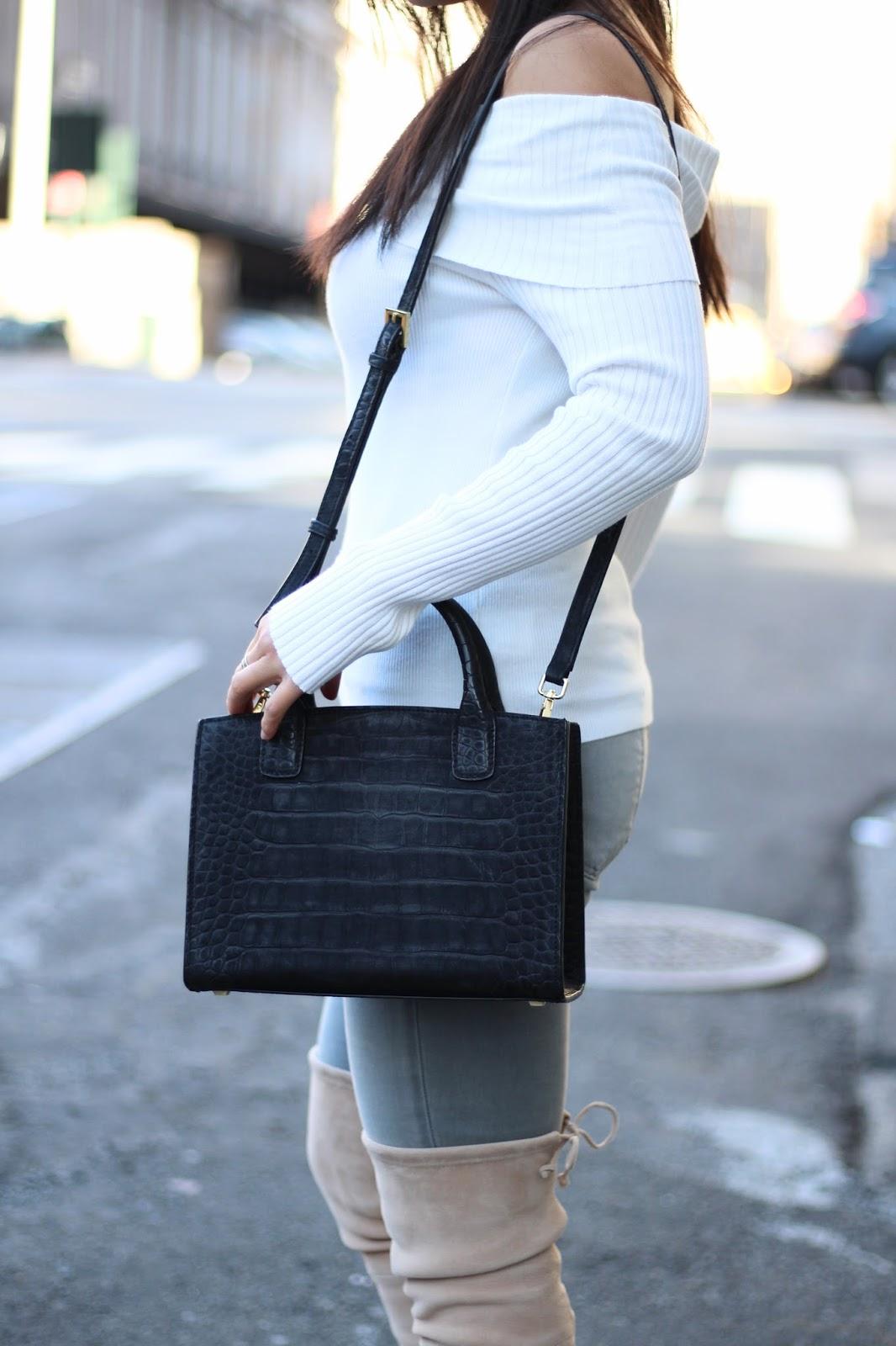 white bolder shoulder top for spring fashion