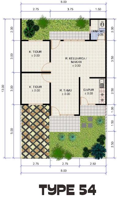 gambar denah rumah minimalis 1 lantai 3 kamar tidur 2017