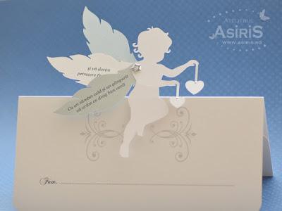 Plicuri bani botez labe cu inger alb ce tine 2 inimi si aripi mobile cu un text de multumire