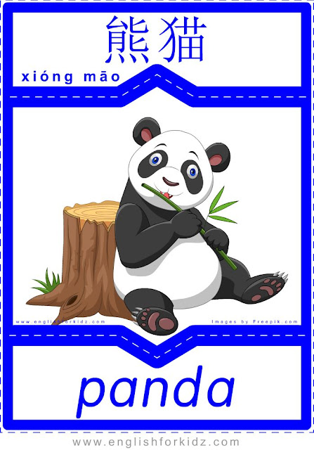 Panda English-Chinese flashcard for the animals topic, printable ESL flashcards