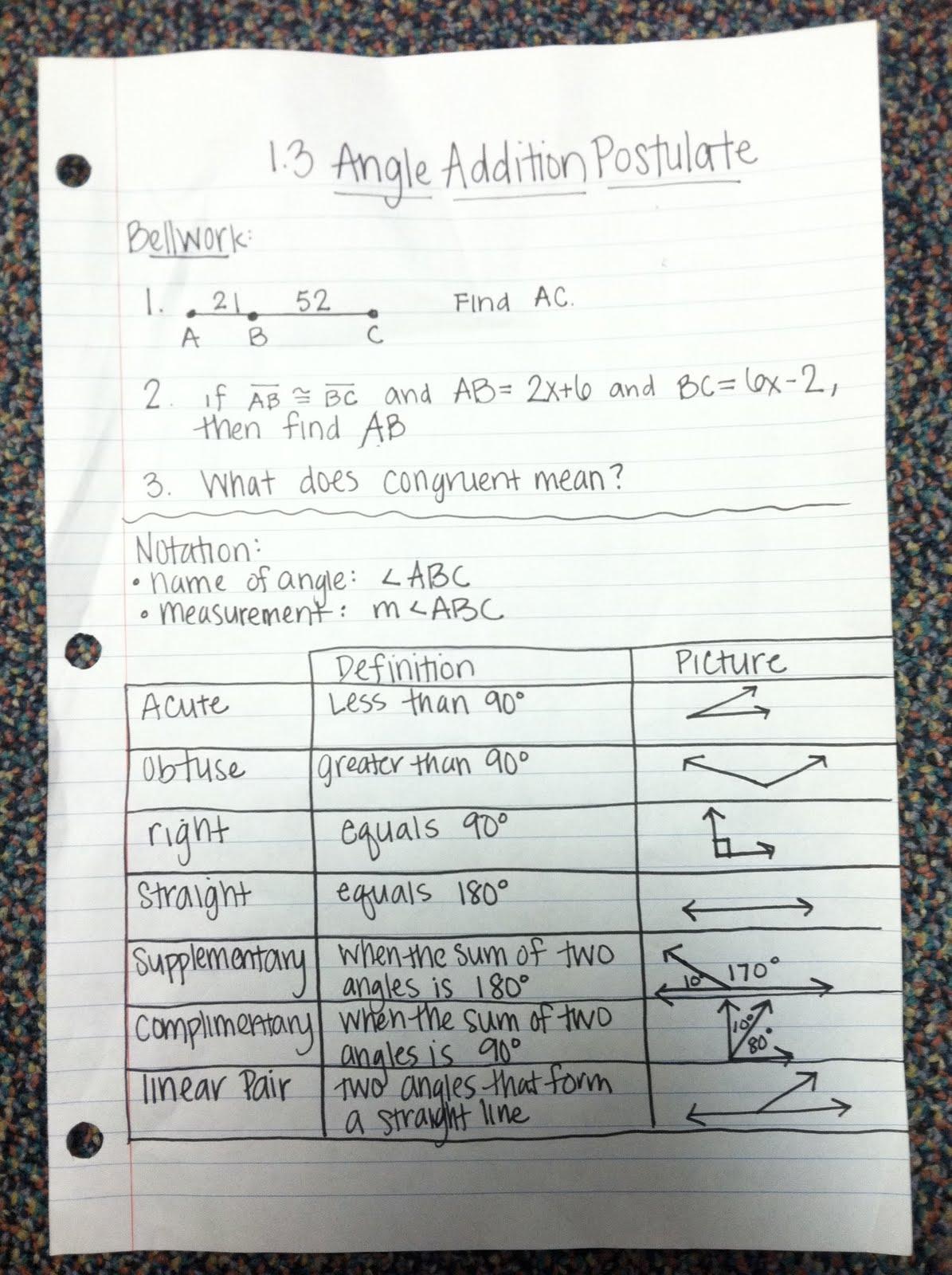 Geometry 1 3 Angle Addition Postulate