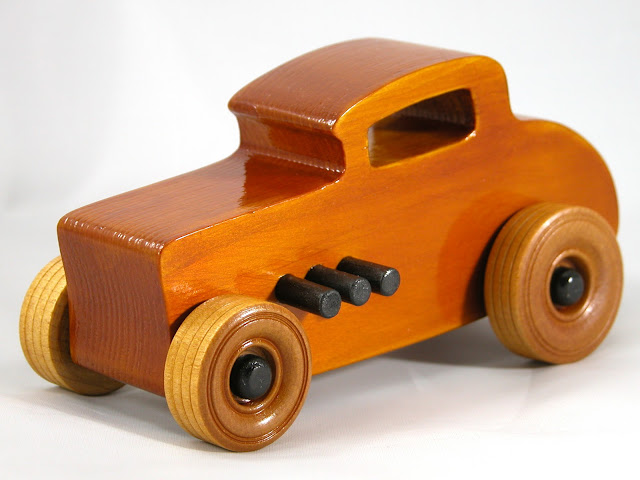 Left Front - Wood Toy Cars - Wooden Cars - Wood Toys - Wooden Car - Wood Toy Car - Hot Rod - 1932 Ford - 32 Deuce Coupe - Little Deuce Coupe - Roadster - Race Car