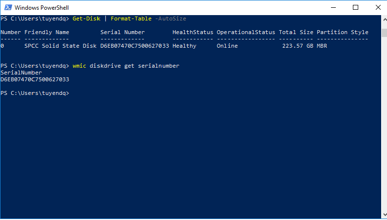 powershell get computer serial number