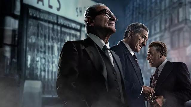 Joe Pesci, Al Pacino y Martin Scorsese en el póster de El irlándes