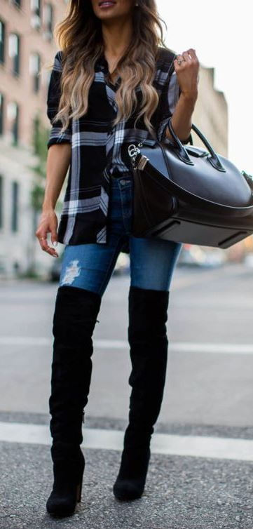 what to wear with over the knee boots : plaid shirt + bag + jeans