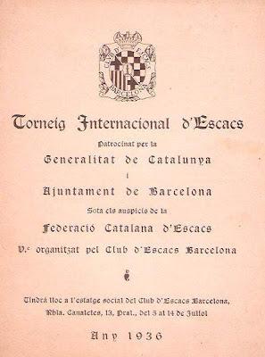 Portada del programa del Torneo Internacional de Ajedrez Barcelona 1936