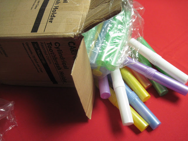 Bulk toothbrush holders for Operation Christmas Child shoebox packing.