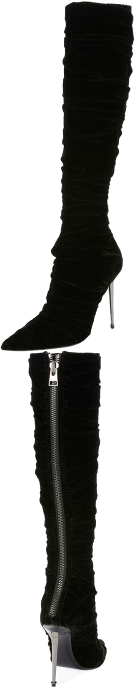 TOM FORD Pleated Velvet Knee Boot, Black