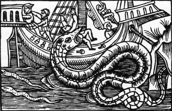 A sea serpent from Olaus Magnus' book Historia de Gentibus Septentrionalibus (History of the Northern Peoples, Rome, 1555).