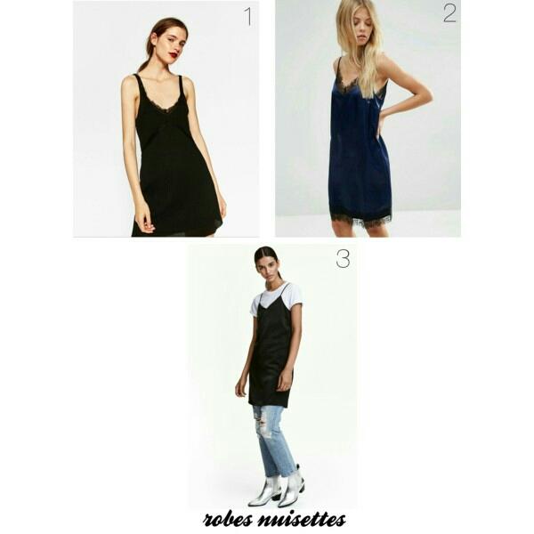 1. Debardeur long style lingerie ZARA 2. Robe nuisette courte ASOS 3. Robe en satin H&M