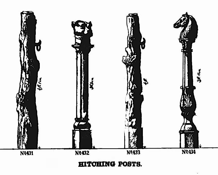 a catalog illustration of 1867 hitching posts