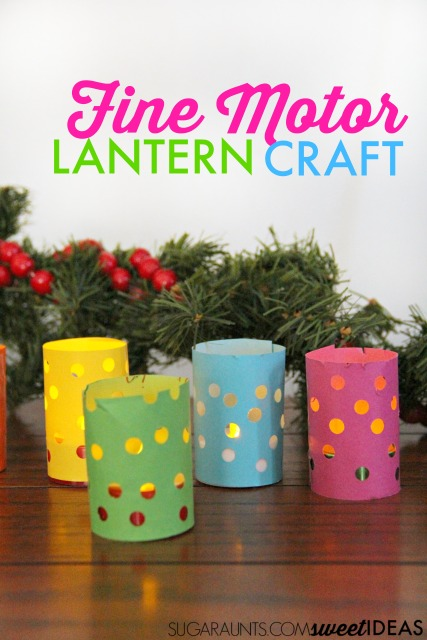 This is a great  fine motor lantern craft while working on fine motor skills like hand strength and scissor skills.