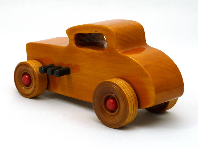 Left Side Rear - Wooden Toy Car - Hot Rod Freaky Ford - 32 Deuce Coupe - Pine - Amber Shellac - Red Hubs