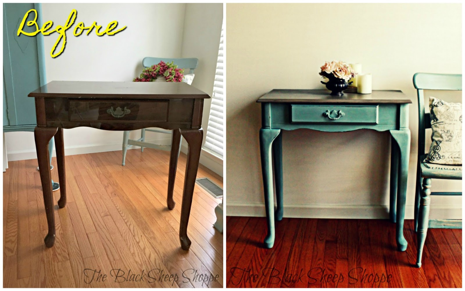 Before and after make up vanity.