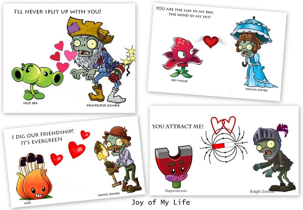 Kids Cards: Valentine Cards: PvZ Friendships for Fun