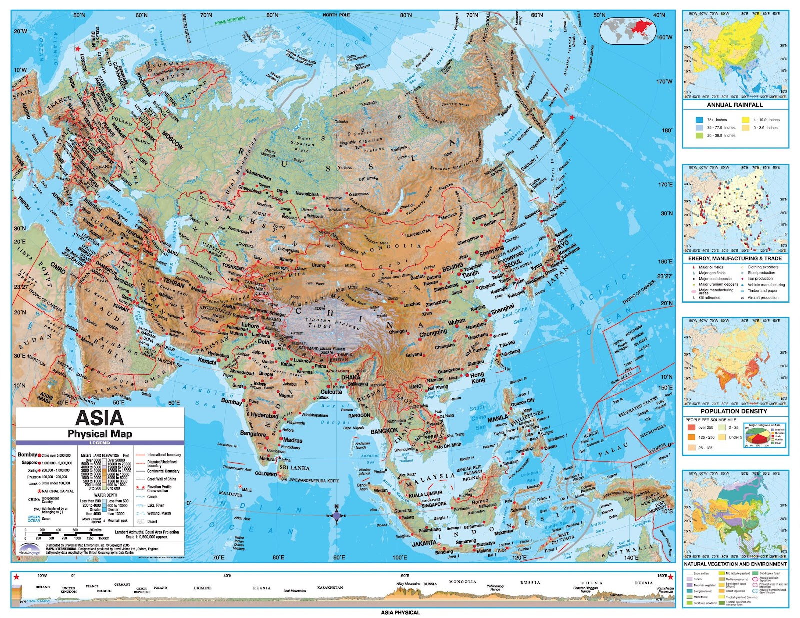 Online Maps Asia Physical Map