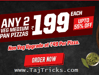 PizzaHut 2 Pizza At Rs 199 Only