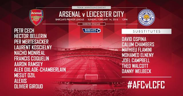 Berikut Line Up Arsenal vs Leicester malam ini