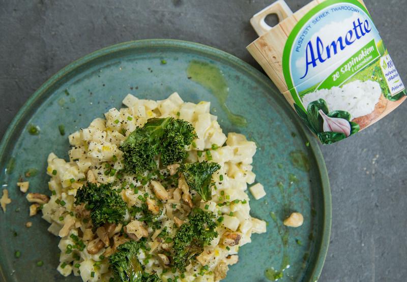 risotto, risotto z almette, przepisy z almette, almette ze szpinakiem i czosnkiem, wspolne gotowanie z davidem gaboriaut, zycie od kuchni