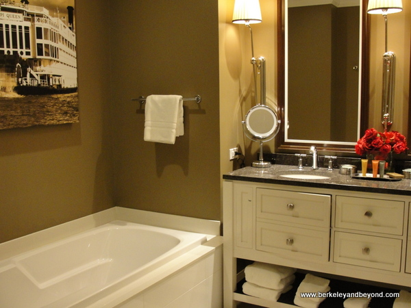 bathroom in guest room at Golden Nugget casino-hotel in Lake Charles, Louisiana