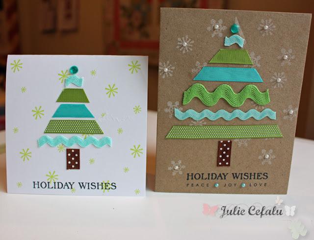 Handmade Christmas Card with beautiful Trees