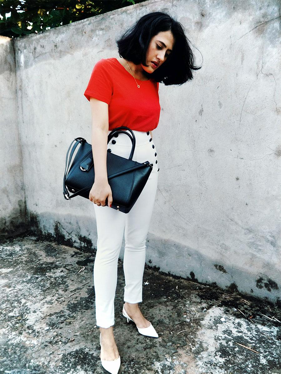 Tommy x Gigi Hadid snow white sailortrouser, nextredtop,whitezaraheel,zaracityblackbag,indianfashionblogger
