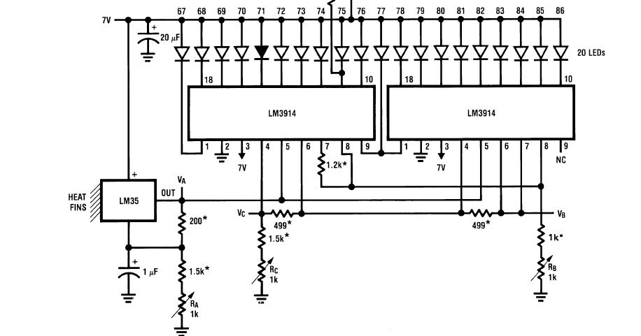 Bar Graph Temperature Indicator Using Lm35 Circuits4you Com