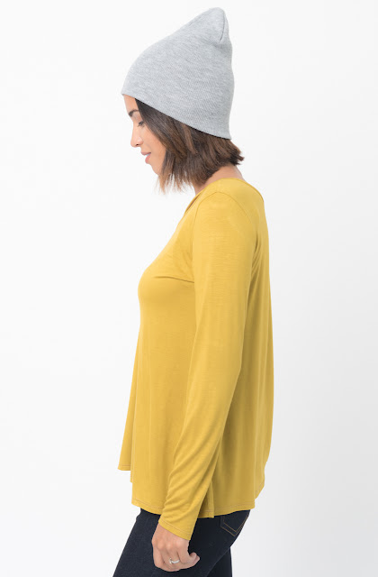 Shop for Mustard Long Sleeves Cross Front Neckline Tee Jersey Tunic Online - $30 - on caralase.com
