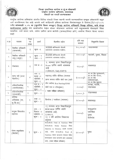 Recruitment of Various posts in NHM, Yavatmal(49 posts)