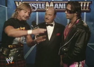 WWF / WWE: WRESTLEMANIA 8 - Rowdy Roddy Piper and Bret 'The Hitman' Hart exchange a few final words before their classic Intercontinental Championship match