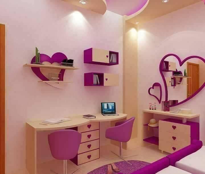 Purple Kids Room: Purple Toddler Girl Room Design With 2 Beds