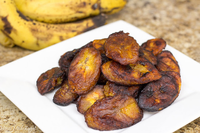 An easy and quick recipe for making fried ripe plantains to be eaten as a side or as a snack #HomeMadeZagat