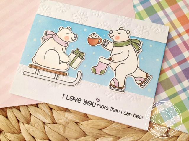 Sunny Studio Stamps: Playful Polar Bears Winter Scene Card by Francesca Vignoli