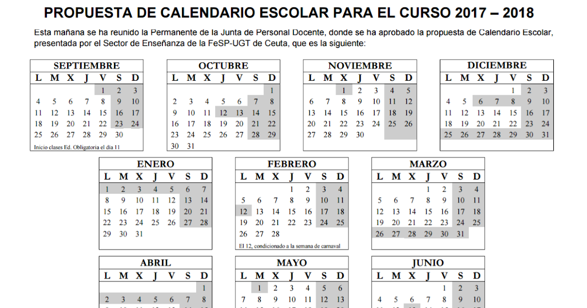 Propuesta de calendario escolar curso 2017 2018 for Propuesta para una cantina escolar