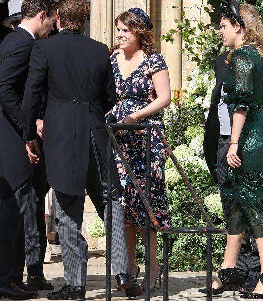 Princess Eugenie wore Peter Pilotto floral print dress. Princess Beatrice wore The Wampire's Wife leaf print midi dress