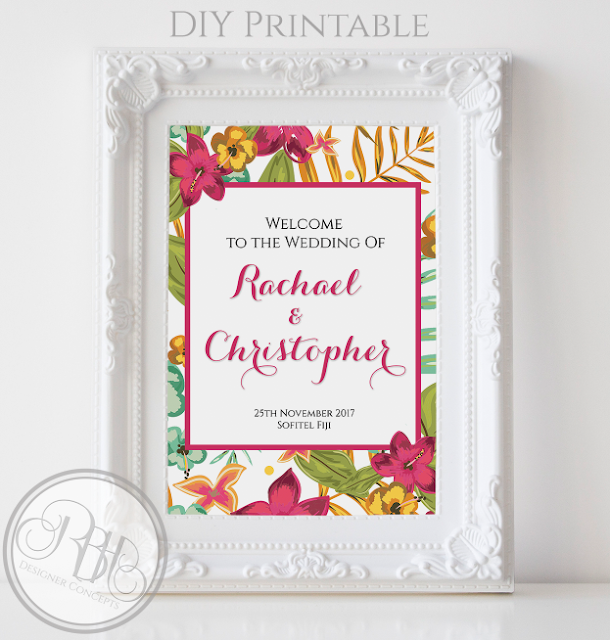 tropical watercolour welcome sign pink hibiscus-island wedding-by rbh designer concepts