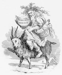 Muinainen joulupukki ratsastaa yule-pukilla