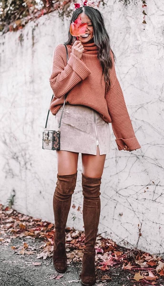 cute outfit idea / bag + brown over knee boots + knit sweater + skirt