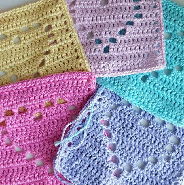 Pretty filet crochet heart baby blanket