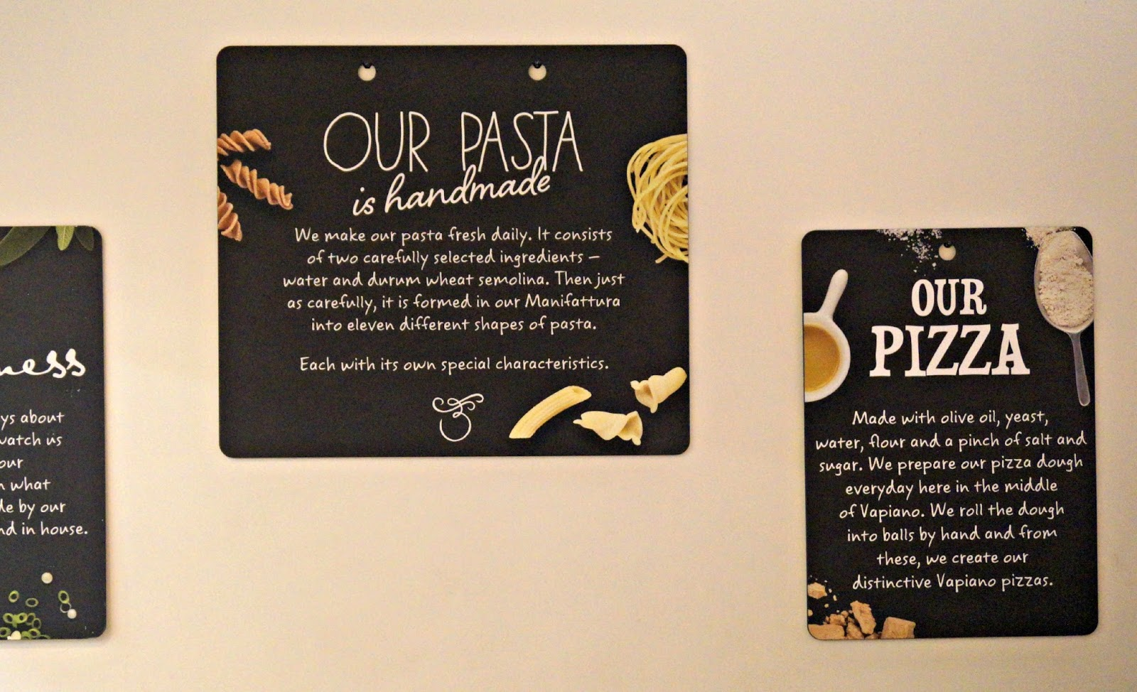 menu signs at vapiano restaurant