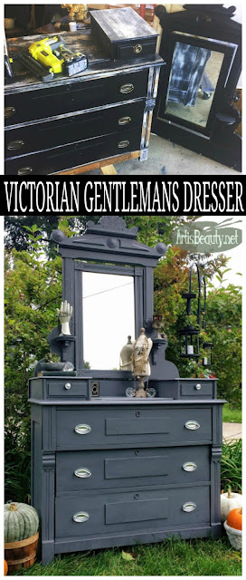 VICTORIAN GENTLEMANS DRESSER MAKEOVER BEFORE AND AFTER DIY GENERAL FINISHES DRIFTWOOD GRAY
