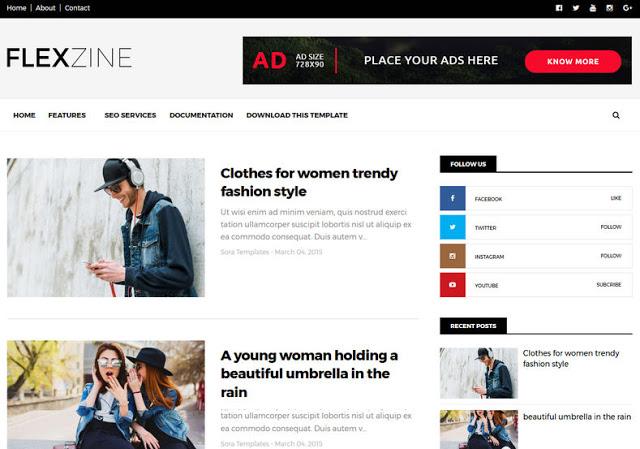 Flexzine Blogger template responive