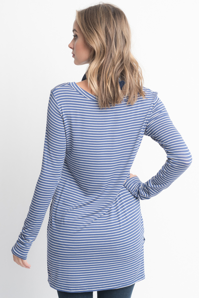 Shop for Blue Striped Long Sleeve Hi Lo Button Down Tunic Online on Caralase