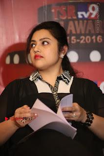 Tamil Actress Meena Latest Stills in Black Dress at TSR TV9 Awards Press Meet  0091.JPG