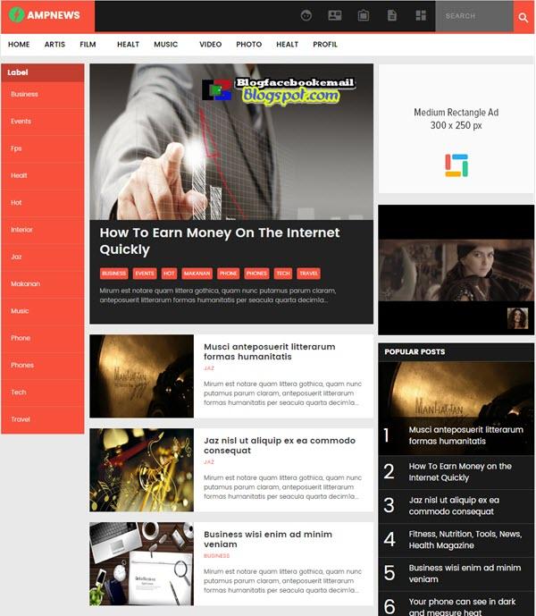 AMP news blogger template gratis