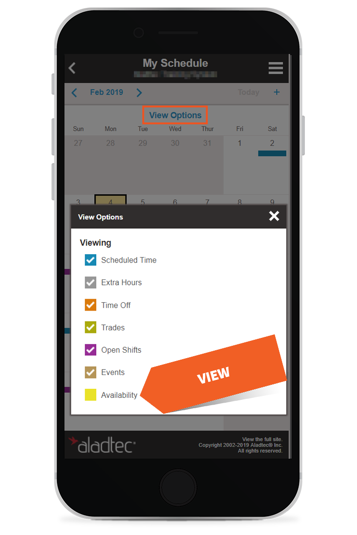 Click checkbox to view availability