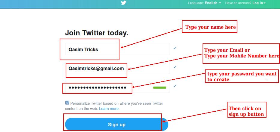 How to Create Twitter account ? - Qasim Tricks